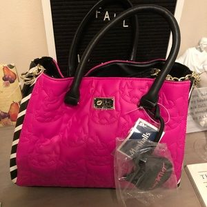 Betsey Johnson pink zebra purse NWOT